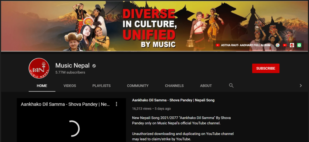 most subscribed YouTube channels in Nepal